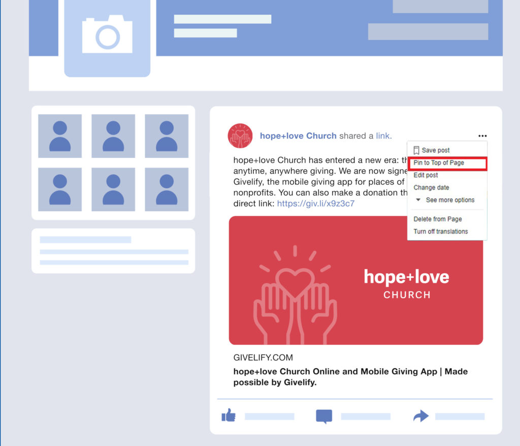 How do I add my Online Giving Link to Facebook and Facebook Live?