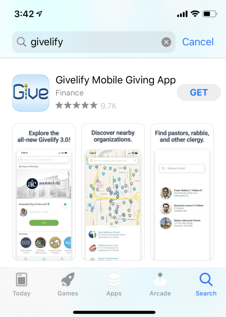 Givelify Mobile Giving App in the App Store