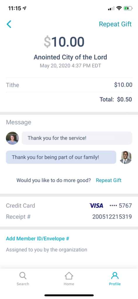 View Message Replies within the Givelify App